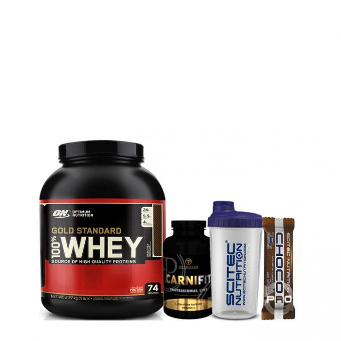 Προσφορά γράμμωσης On Optimum Gold St. 2273Gr + Pf Carni Fit 100Tabs + Scitec Choco Pro + Shaker