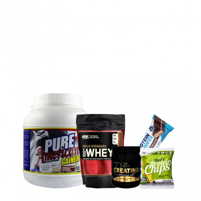 Προσφορά όγκου American Pure Gainer 2kg + On Gold Standard 450gr + Pf Creatine 500gr + Δώρο Chips + Δώρο Protein Wafer