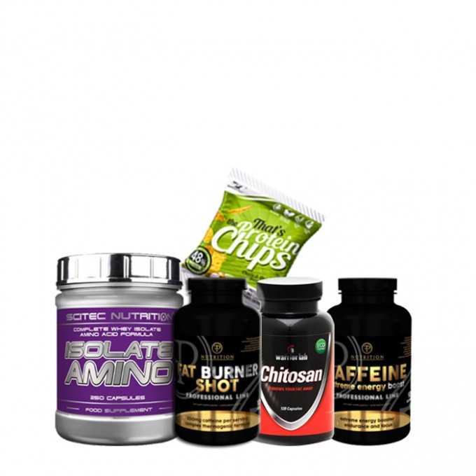 Προσφορά Λιποδιάλυσης Scitec Isolate Amino 250Caps + Pf Fat Burner Shot 100 caps + Warrior lab Chitosan + Pf Caffeine 90 caps + Δώρο Chips