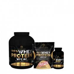 Προσφορά γράμμωσης Pf Nutrition Wpc 80 2kg + Pf Fat Burner Shot 100 Tab + Δώρο Pf Nutrition Wpc 80 900gr