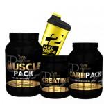 Προσφορά Muscle Pack 2000Gr + Pf Nutrition Carbpack 1500Gr + Creatine Pure 500Gr + Shaker