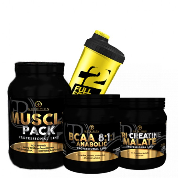 Προσφορά Pf Nutrition Muscle Pack 2000Gr + Tri-Creatine Malate 500Gr + Bcaa 8:1:1 500Gr +Shaker Δωρο