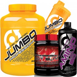 Προσφορά Scitec Jumbo Professional 3240Gr + Amino Liquid 50 1000Ml + Hot Blood 300Gr + Δωρο Shaker