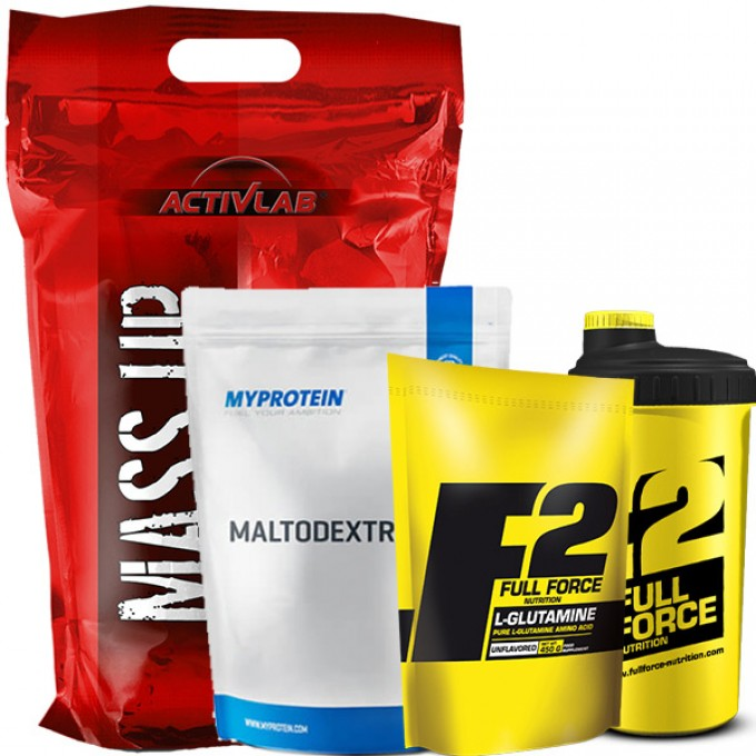 Προσφορά Activlab Mass Up 3500Gr + Myprotein Maltodextrin 2.500Gr + Full Force L-Glutamine 450Gr + Δώρο Shaker