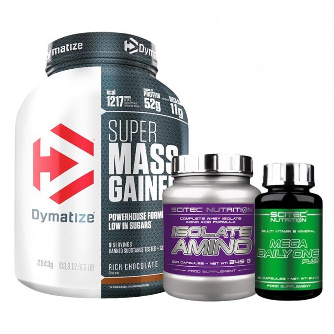 Προσφορά Dymatize Super Mass Gainer 2943g + Scitec Mega Daily One Plus 60Caps + Scitec Isolate Aminos 250Caps